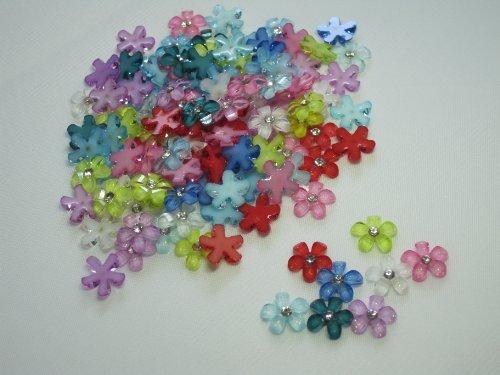 100個デコパーツ フラワー ミックスカラー キラキラ ラインストーン 10㎜ ネイル 花