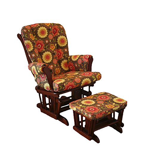 Cotton Tale Designs Peggy Sue Glider on Espresso with Ottoman, Brown Floral