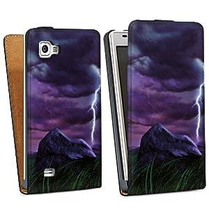 LG Optimus 4X HD P880 Hülle Tasche Etui Schutzhülle black - Purple Lightning