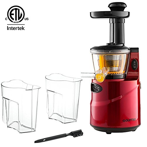 Review Gourmia GSJ-200 Masticating Slow Juicer, Max Nutrient Fruit and Vegetable Juice, Red