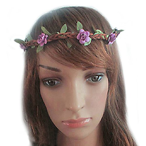 Hippie Love Flower Garland Crown Festival Wedding Hair Wreath BOHO Floral Headband (Purple)