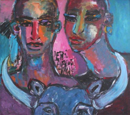 """'Sibilla salvare Maier """"Let' s Talk-Original arte-quadro da parete dipinta a mano pezzo unico in acrilico-arte moderna-astratto-ritratto-Toro 129x 113cm"""