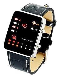 BSFY Faux Croc LED Digital Binary Black Leather Band Watch Mens Binary Code Display Sport Wrist Watch