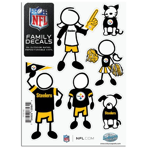BSS - Pittsburgh Steelers NFL Family Car Decal Set (Small) (Steelers Family Car Decals compare prices)
