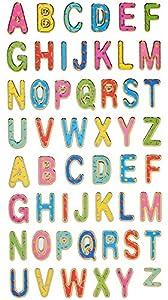 55 tlg. Set Sticker / Aufkleber - ABC Buchstaben - Alphabet - selbstklebend mit Glitzer - für Jungen Mädchen- Stickerset Kinder - z.B. für Stickeralbum / Schule Namen Buchstabe