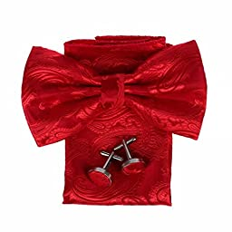 DBC3B01A Red Patterned Classy Internet Woven Microfiber Pre-tied Bow Tie Hanky Cufflinks Design For Evening By Dan Smith