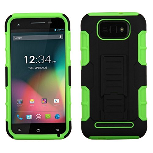 Mybat Asmyna Car Armor Stand Protector Cover Rubberized For Blu D610A Studio 5.5 - Retail Packaging - Black/Electric Green front-613831