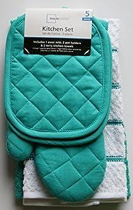 Teal Island Kitchen Towel Set 5 Piece- Pot Holders, Oven Mitt & 2 Terry Kitchen Towels