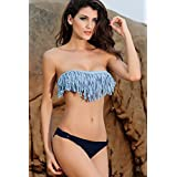 TBS Women's Upgraded Tassel And Blue Panties Bikini Set