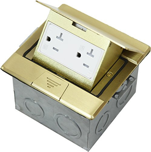 Enerlites 661241-C Floor Box 1 Gang Electrical Kit Flip-Up Assembly, 20A Tamper / Weather Resistant Duplex Receptacle - Brass