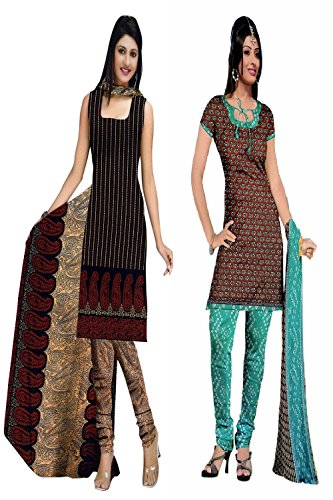Araham soft crepe / American crepe dress material / unstitched Salwar Suit pack of 2 combo No 532