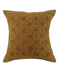 Traditional Green Single Indian Cushion Cover 16x16 Floral Embroidered Pillow Covers Living Room Accessories Cotton Throw Pillow By Rajrang