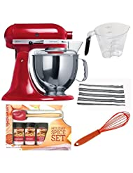 Kitchenaid KSM150 Artisan Tilt-Head Stand Mixer 5 qt. in Empire Red + Measuring Cup with Rubber Grip + Kamensteins Spatula Spice Set +... by KitchenAid