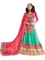 Inddus Women Green & Pink Unstitched Embroidered Lehenga Choli