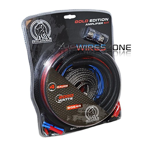 Bullz Audio BGE4RB Gold Edition 4 Gauge 2000 Watts Amplifier Wiring Amp Kit (2000 Watt Amp Wiring Kit compare prices)