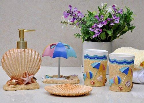 NEW Beach Decor Seashell Bathroom Accessories Sink Set