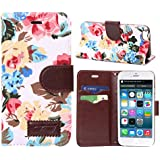 Malloom® 1PC Stunning Flower Print Magnetic Wallet Flip l Leather Cover Case For iPhone 6 (White)