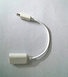 White Micro USB OTG (On the Go) cable to USB cable (for keyboards, mouse, cameras, pen drive, memory cards)