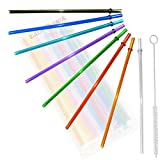 24oz, Rainbow Colored Replacement Acrylic Straw Set of 8 /With Cleaning Brush