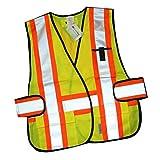 Tofern Haute visibilité Hi-Viz 3M sécurité réfléchissant gilet fluorescent pour l'extérieur fonctionnant vélo randonnée route gilet de sécurité de la construction - Orange et jaune