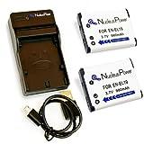 【 6ヶ月保証 】 Nikon EN-EL19 *バッテリー2個 + USB充電器 Coolpix S6600 S6500 S5200 S4400 互換バッテリー ...Nucleus Power製(EN-EL19*2+充電器)