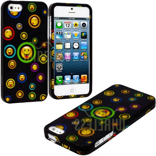Mylife Yellow Smiley Faces And Colorful Circles Series (2 Piece Snap On) Hardshell Plates Case For The Iphone 5/5S (5G) 5Th Generation Touch Phone (Clip Fitted Front And Back Solid Cover Case + Rubberized Tough Armor Skin)