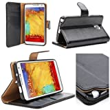 i-Blason Samsung Galaxy Note 3 Note III N9000 Smart Phone Leather Slim Book Case Cover with Stand Feature (Black)