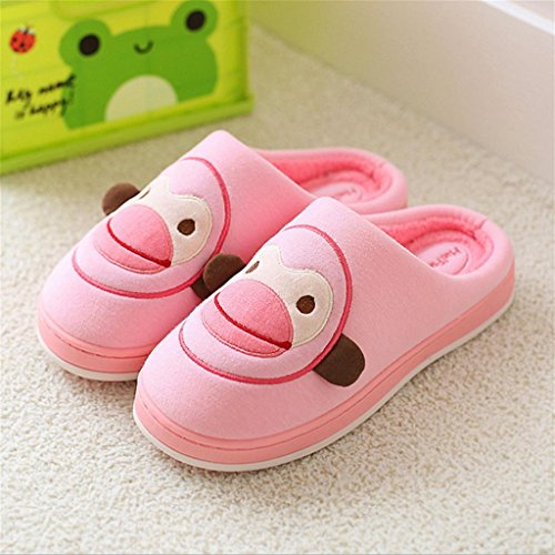 TDXIE Anti-slittamento limitato coperta inverno famiglie fumetto caldo cotone pantofole scarpe , pink , 37-38