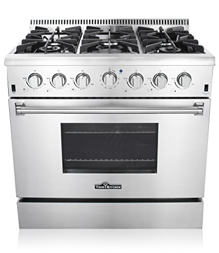 Thor-Kitchen-36-Freestanding-Professional-Style-Gas-Range-with-52-Cu-Ft-Oven-6-Burners-Convection-Fan-Cast-Iron-Grates-Blue-Porcelain-Oven-Interior-In-Stainless-Steel