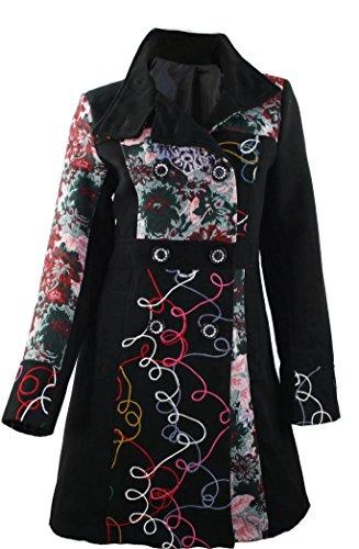 #947 Damen Mantel Jacke Patchwork Winter Trenchcoat Wintermantel Braun Beige Grün 36 38 40 42 44 46 (36, Grün)