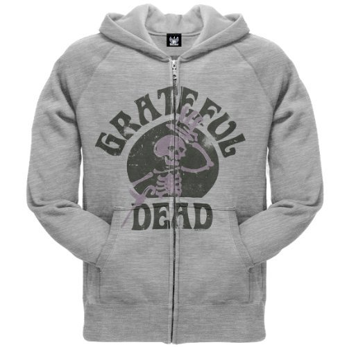 Old Glory Mens Grateful Dead - Skeleton Zip Hoodie - 2X-Large Grey