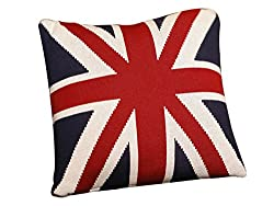 Pluchi Union Jack Navy Red & Natural Knitted Cushion Cover