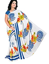White And Blue Printed Saree