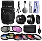 Sigma 70-300mm f/4-5.6 DG Autofocus Lens for Nikon 5A9306 with Premium Accessories Package includes 2.2x Telephoto Adapter + 0.43x Wide Angle Fisheye Adapter + 9 Piece Filter Kit + Extra Lens Cap + Dust Cleaning Care Kit + Gift $50 Gift Card for Nikon DF D7200 D7100 D7000 D5500 D5300 D5200 D5100 D5000 D3300 D3200 D3100 D3000 D300S D90 D60 DSLR SLR Digital Camera