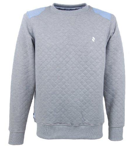 D-Code Men's Plain Quilted Crew-Neck Sweatshirt Light Grey L