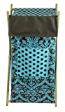 Tadpoles Damask Hamper, Blue/Brown