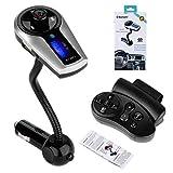 2014 New Bluetooth F9 FM Transmitter Wireless Bluetooth Car FM Transmitter MP3 Player Hands-free Calling USB Charging, Car Fm Radio Transmitter 88.1~107.9MHz LCD Steering Wheel Remote Control