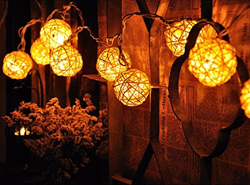 Magic 20 White Rattan Ball LED String Fairy Lights Christmas Wedding Decor Party 20 LED Warm White Rattan Ball LED String Xmas Lighting Christmas Wedding Party Curtain Garlands Decoration Lights (Denso Ac Compressor Kit compare prices)