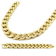 Mens Gold Plated Cuban Hip Hop Miami Necklace Chain & Bracelet 20mm 30 Inch
