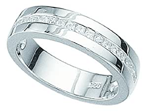 """Women's Sterling Silver Cubic Zirconia Band Ring. Packaged in a quality gift box with ribbon. Sterling Silver with """"925"""" UK Hallmark"""