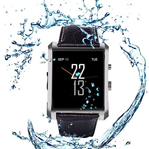 """Qkking Deluxe Edition Calfskin Belt Waterproof 1.5"""" 1.3MP Bluetooth 4.0 Smart Watch DM08 WristWatch with Full HD IPS Display for Android & IOS (Iphone) with Camera Recorder Pedometer Sleep Monitoring-Silver"""