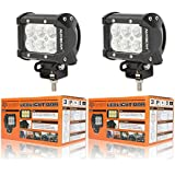 "Auxbeam® 2Pcs 4"" 18W CREE LED Work Light Bar Flood Beam 60 degree Waterproof for Off-road Truck Car ATV SUV Jeep Boat 4WD ATV Auxiliary Driving Lamp"
