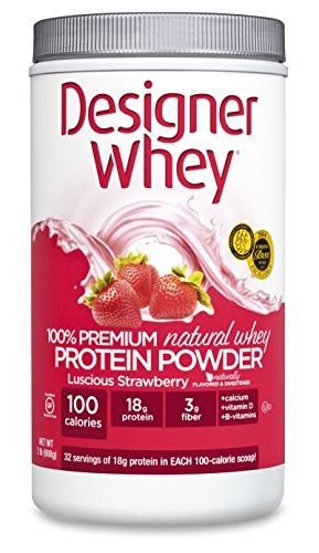 Designer Whey 100% Premium Whey Protein Powder, Luscious Strawberry, 32 Ounce Container
