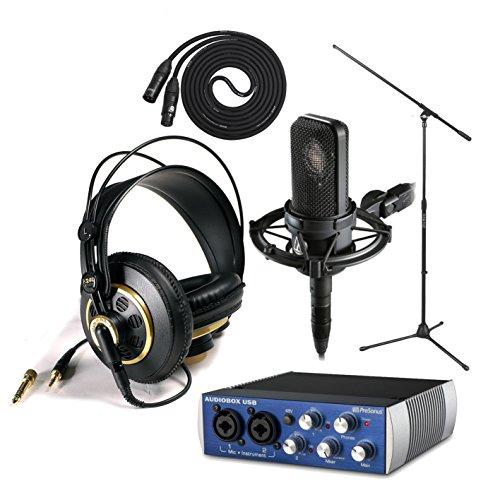 Audio Technica At4040 With Presonus Audiobox Usb, Akg K240 Studio - Professional Studio Headphones, On Stage Boom Mic Stand, Lyxpro 25' Black Quad Cable Xlr M/F