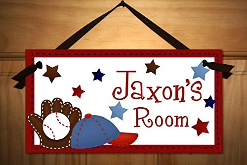 Personalized Kids Door Sign for Boys Baseball Sports Name Plaque Kids Bedroom Door Sign DS0086 (Door Signs For Kids compare prices)