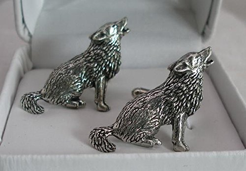 Solid Pewter Wolf Cufflinks With Gift Box