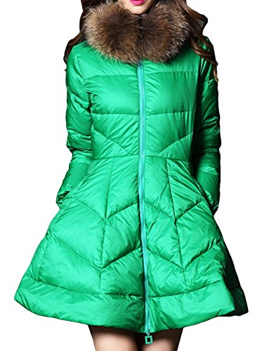 LIYAYI Womens Slim Fit Fashion Puffy Fur Zip Mid Long Parka Down Coats<br />
