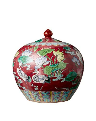 Dynasty Gallery Crane & Lotus Porcelain Jar, Red