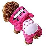 Aihome ペット服 ペット用品 トトロ風 わんちゃん コスプレ 犬の服 帽子付き 3色6サイズ選べる (M, ピンク)