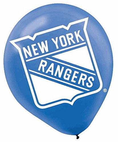 "Amscan New York Rangers Printed Latex NHL Party Balloons, 12"", Blue/Red"